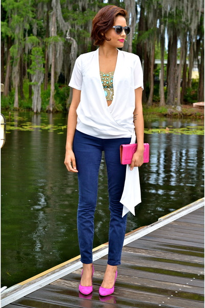 white Sinéquanone shirt - navy parker smith jeans jeans
