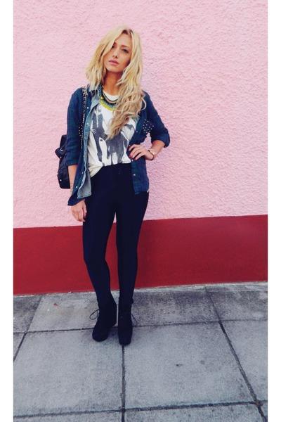 studded checked Zara shirt - khaki Topshop shirt - Topshop boots