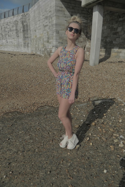 patterned asos romper - black oversized Topman glasses - cream Boohoo wedges