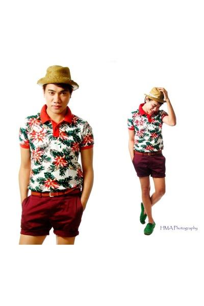 ruby red Splash shirt - brick red H&M shorts
