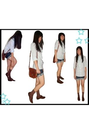 Topshop top - Topshop shorts - vintagemoms purse - vintagemoms shoes