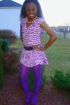 gold vintage necklace - purple Custom Made in Ghana dress - purple Walmart tight