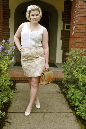 Dooney & Bourke bag - J Crew top - Loft skirt - Madden Girl heels - headband Nor
