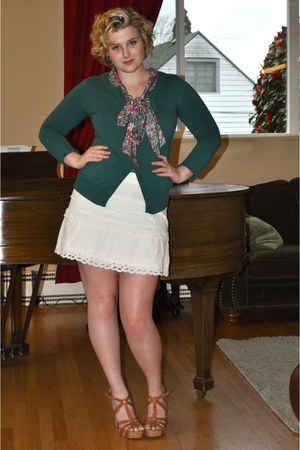 white J Crew skirt - teal Nordstrom BP cardigan - heather gray Old Navy blouse -