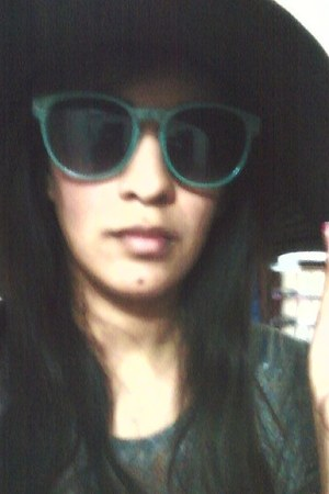 black Forever21 hat - turquoise blue Forever21 glasses - charcoal gray SaksFifth