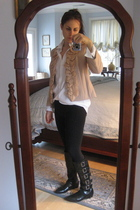 JCrew jacket - JCrew shirt - Urban Outfitters leggings - michael antonio boots