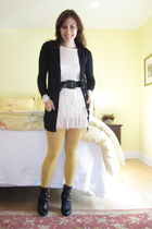 JCrew cardigan - madewell shirt - American Apparel tights - Forever 21 boots - O