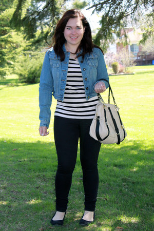 denim jacket - black jegging jeans - leather bag - striped top