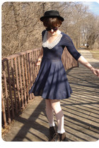 dark brown black trimmed Urban Outfitters boots - navy modcloth dress - black Ur