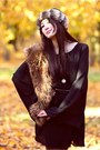 Light-brown-faux-fur-hat-black-alyssa-nicole-dress