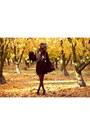 Light-brown-faux-fur-hat-black-alyssa-nicole-dress