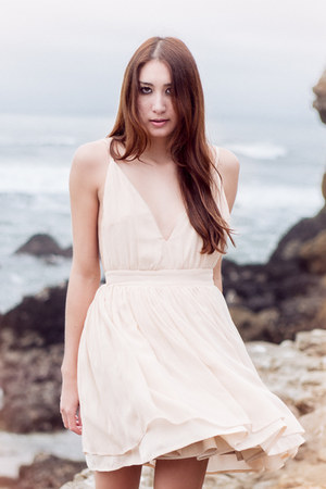 neutral silk Alyssa Nicole dress