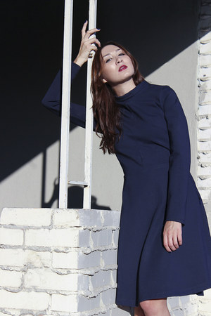navy turtleneck Alyssa Nicole dress