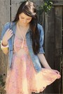 Light-blue-vintage-denim-calvin-klein-jacket-pink-alyssa-nicole-dress