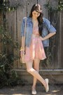 Pink-alyssa-nicole-dress-light-blue-vintage-denim-calvin-klein-jacket
