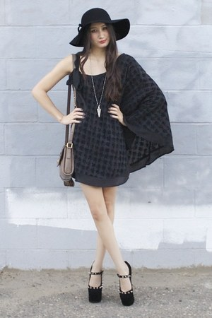 black floppy hat BCBG hat - black Alyssa Nicole dress