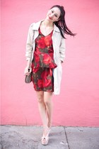 peach Jeffrey Campbell wedges - ruby red Alyssa Nicole dress