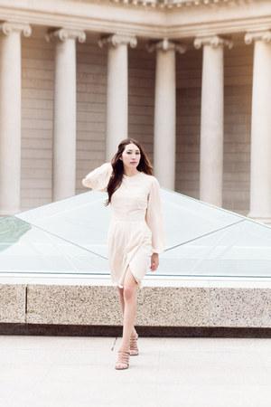 nude bell sleeve Alyssa Nicole dress - tan leather Freda Salvador heels