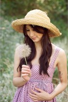light purple Alyssa Nicole dress - beige straw hat vintage hat