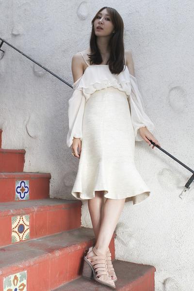 white silk chiffon Alyssa Nicole blouse - off white Alyssa Nicole skirt