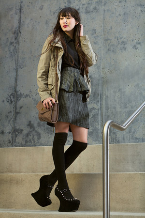 black knee high asos socks - army green army jacket anne taylor loft jacket