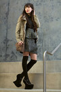 Army-green-army-jacket-anne-taylor-loft-jacket-black-knee-high-asos-socks