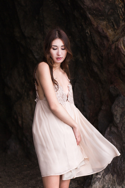 neutral silk slip dress Alyssa Nicole dress - ivory sam edelman sandals