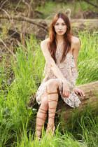 tan lace Alyssa Nicole dress - light brown Zara sandals
