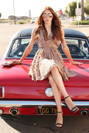 brown wrap Alyssa Nicole dress - light pink metallic kate spade bag
