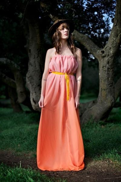 mustard velvet Alyssa Nicole belt - orange chiffon maxi Alyssa Nicole dress