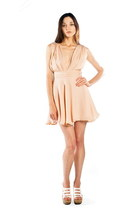 Peach-deep-vneck-alyssa-nicole-dress