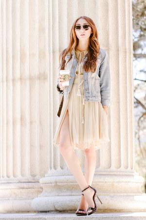 neutral silk Alyssa Nicole dress - sky blue denim Target jacket