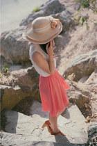 tan straw hat thrifted vintage hat - white button up Alyssa Nicole blouse
