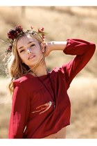 brick red bishop sleeve Alyssa Nicole blouse