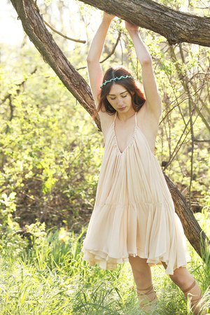 neutral silk Alyssa Nicole dress - tan Zara sandals