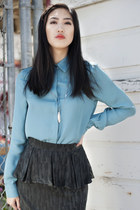 SALE Teal Silk Blouse