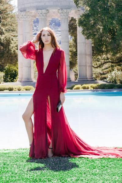 red silk Alyssa Nicole dress - dark brown clutch Fendi bag