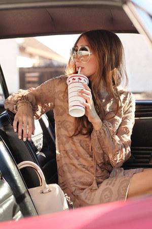 light brown silk Alyssa Nicole dress - neutral purse kate spade bag