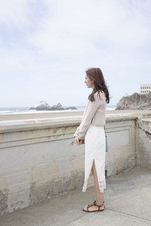 white Alyssa Nicole dress - beige knit Urban Outfitters sweater