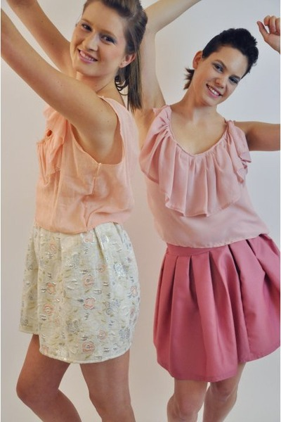pink Alyssa Nicole blouse - pink Alyssa Nicole skirt - pink peach crop top Alyss