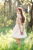 neutral silk Alyssa Nicole dress - coral floral crown Spellbound hair accessory