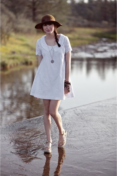 dark brown thrifted hat - white Alyssa Nicole dress
