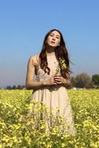 neutral silk Alyssa Nicole dress