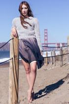 heather gray fuzzy neiman marcus sweater - black ombre Alyssa Nicole dress