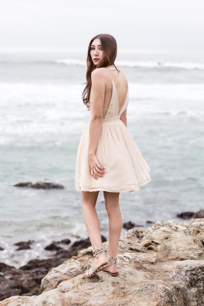 light pink silk Alyssa Nicole dress - ivory sam edelman sandals