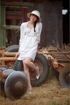 cream Alyssa Nicole dress - camel Urban Outfitters hat - white saks 5th avenue v