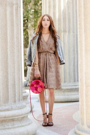 brown wrap Alyssa Nicole dress - light blue denim Target jacket