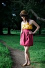 Dark-brown-brown-wool-thrifted-vintage-hat-mustard-tube-top-bird-by-alyssa-nic