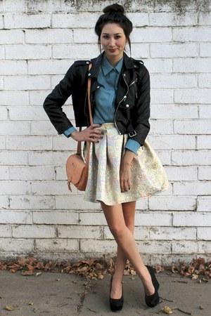 light blue Alyssa Nicole skirt - black motorcycle Nasty Gal jacket