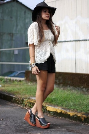 beige lace blouse - black wedges Jeffrey Campbell shoes - black floppy hat